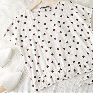 White and Brown Polkadot Side Tie Top// Zara